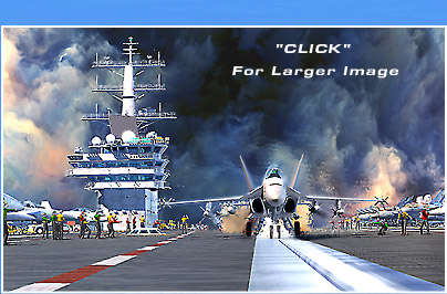 3D illustration of the flightdeck of USS Reagan, CVN-76
