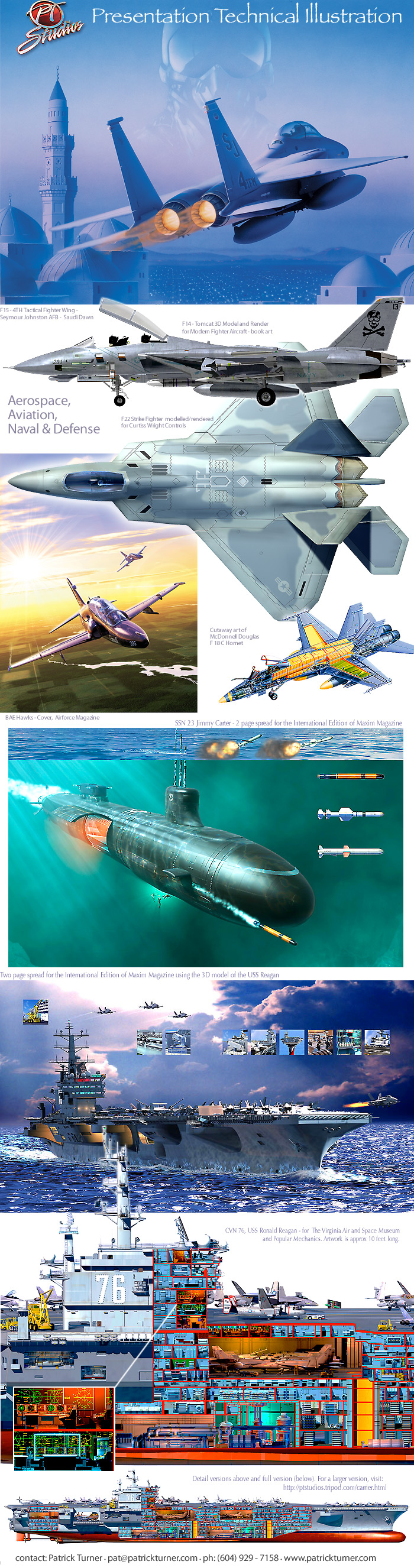 Sample sheet of aviation and aerospace artwork