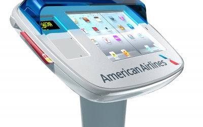 Design and Render of American Airlines Admirals Lounge kiosk