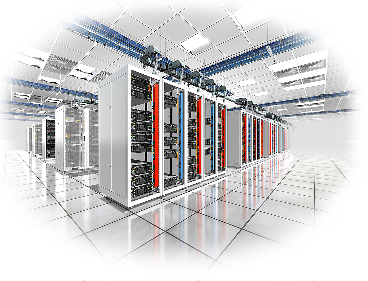 A large array of servers