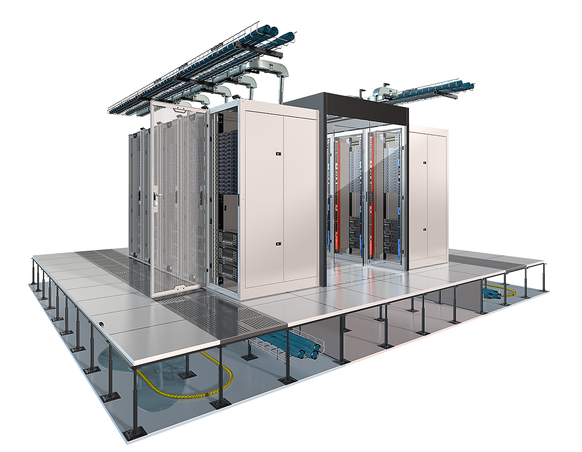 3D illustration of server room layout